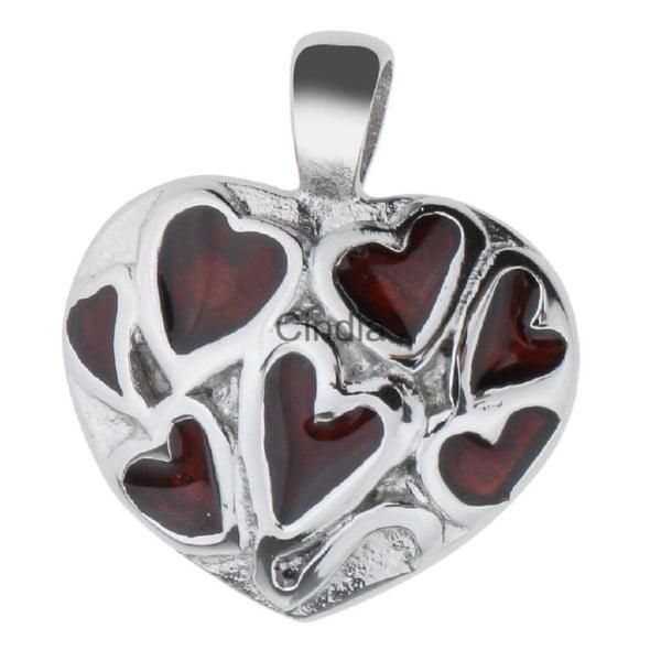 Hart met rode harten assieraad RVS