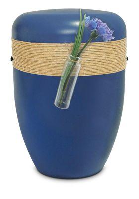 blauw jute koord biologische urn