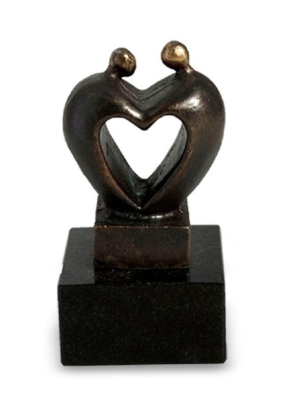 mini urn asbeeld coeur brons