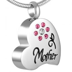 assieraad hart mother strass roze bloem