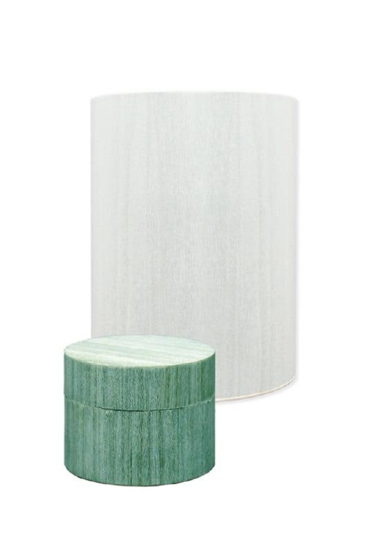 houten urn en mini urn rond turquoise