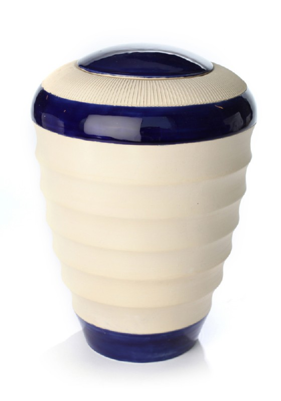 keramiek urn pure naturel blauw