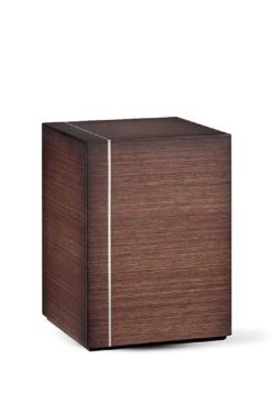 houten urn met zilverband