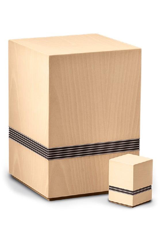 urn of mini urn natuur hout met sierstrepen