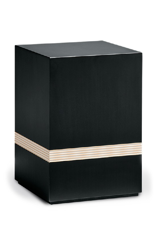 urn hout zwart met sierstrepen