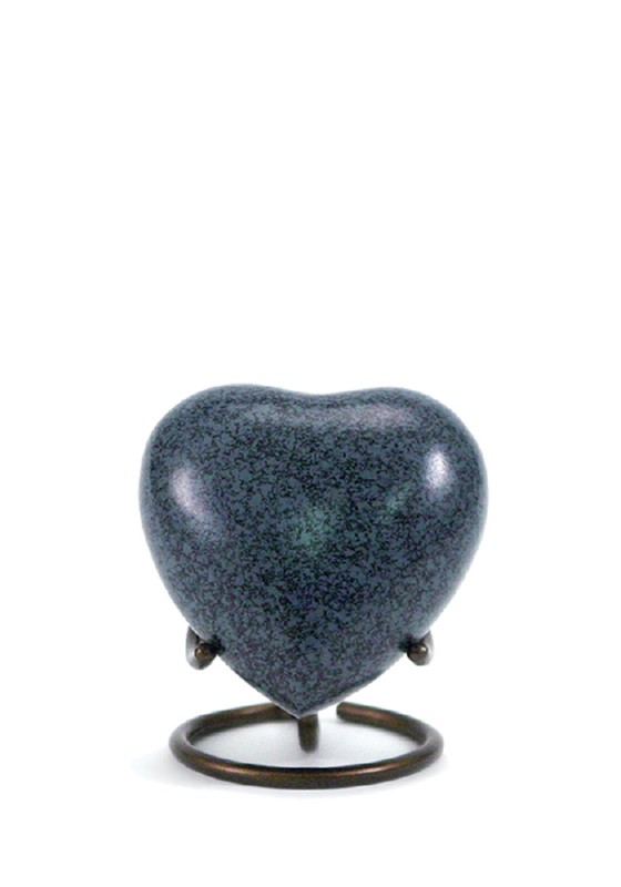 mini urn hart blauw zwart maus granite