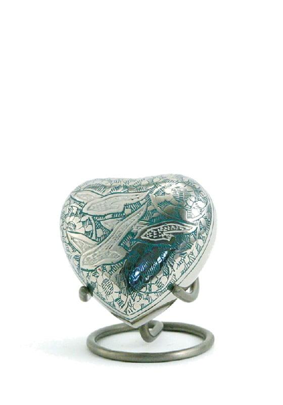 mini urn hart zilver blauw going home