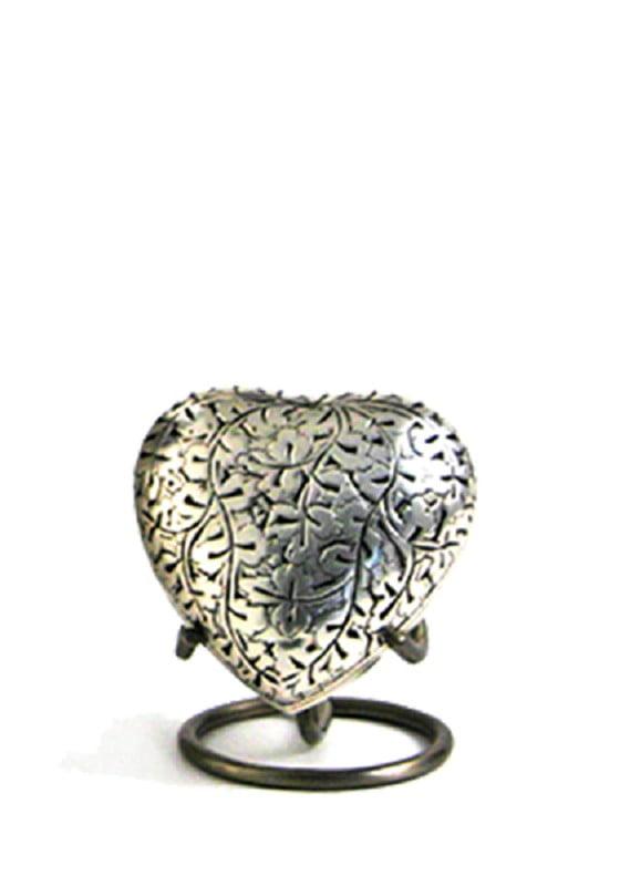 mini urn hart oak met bladmotief