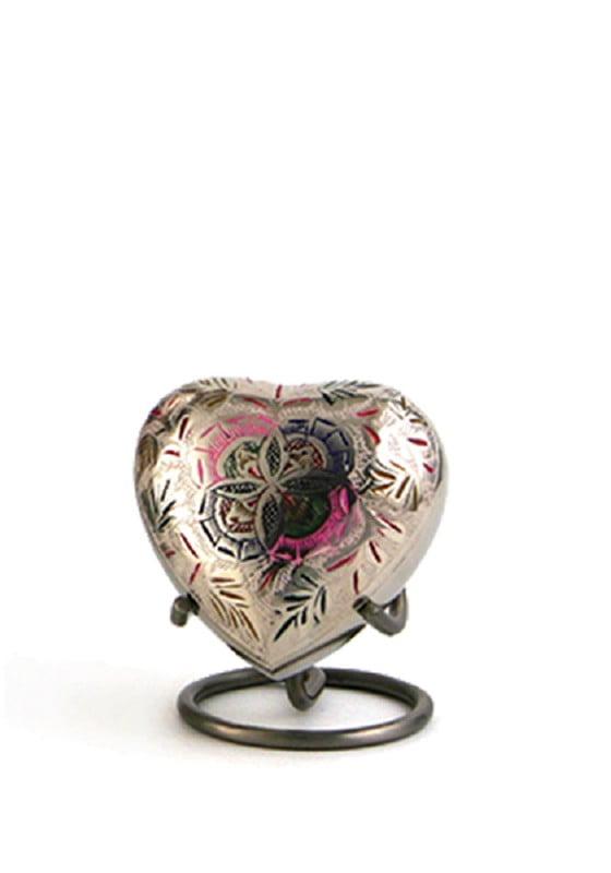 mini urn hart zilver roze lattice