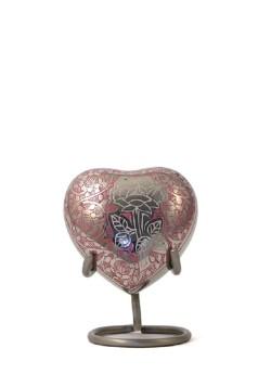 mini urn hart zilver roze rose