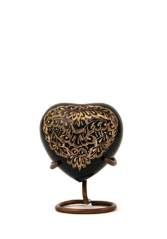 mini urn hart zwart goud radiance