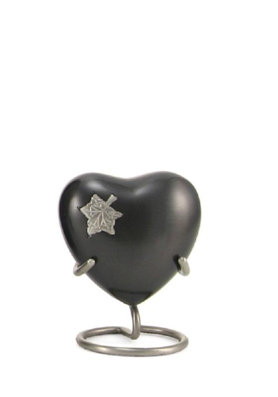 mini urn hart zwart zilver meadows leaves