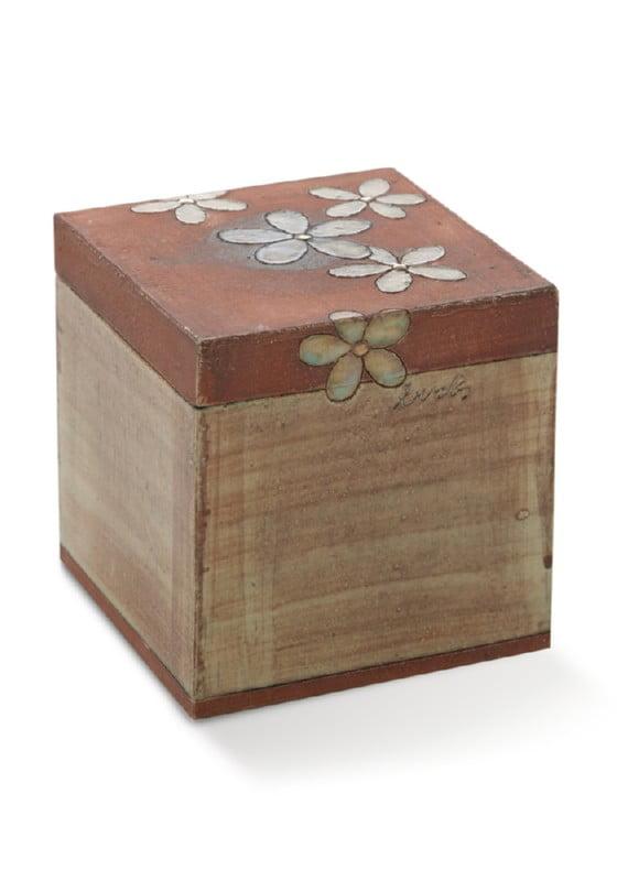 urn kubus tetra lou, keramiek met bloemen