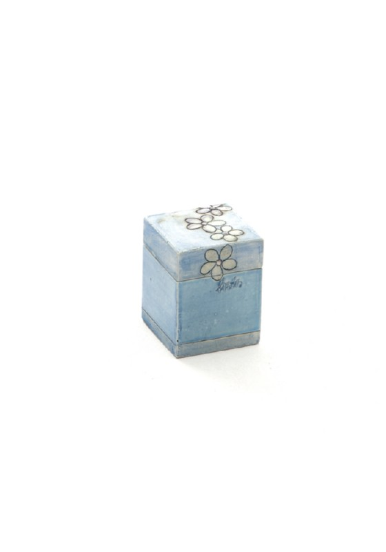 miniurn kubus tetra lou, keramiek met bloemen