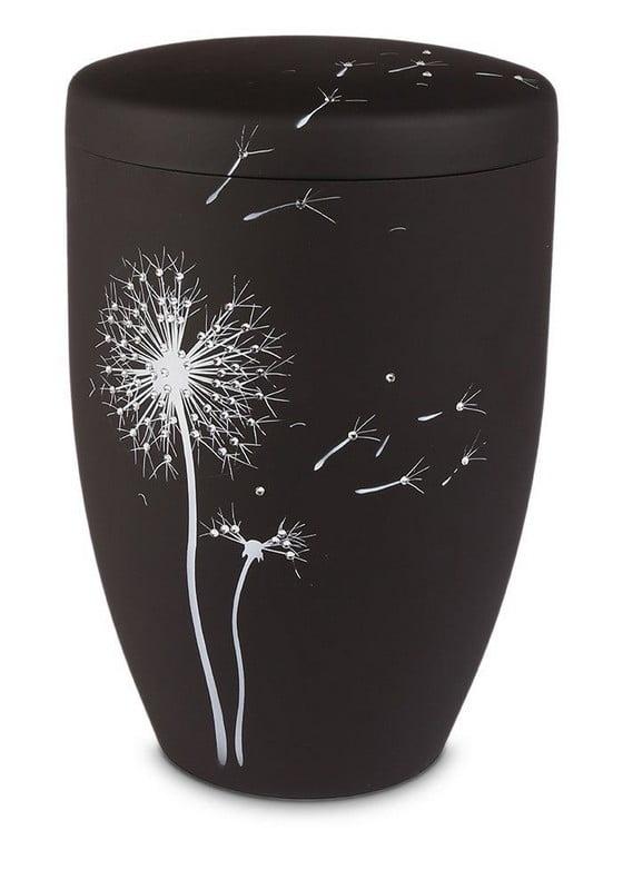 paardenbloem zwart strass biologische urn