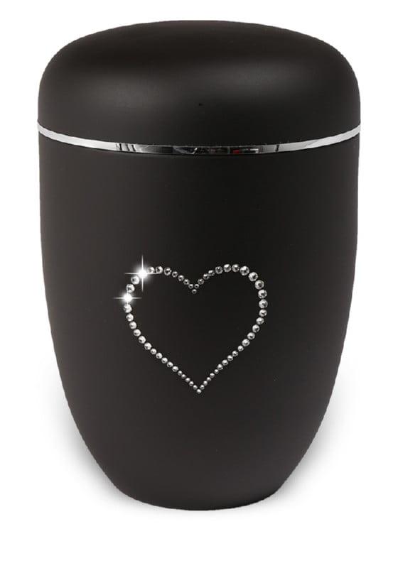 urn mat zwart strass hart