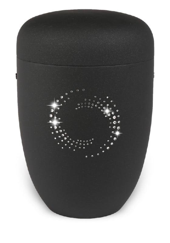 urn mat zwart strass rond