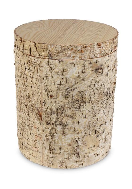 houten urn ruwe bast