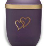 ecologische urn paars met gouden harten