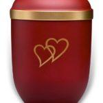 ecologische urn rood met gouden harten