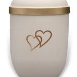 ecologische urn wit met gouden harten