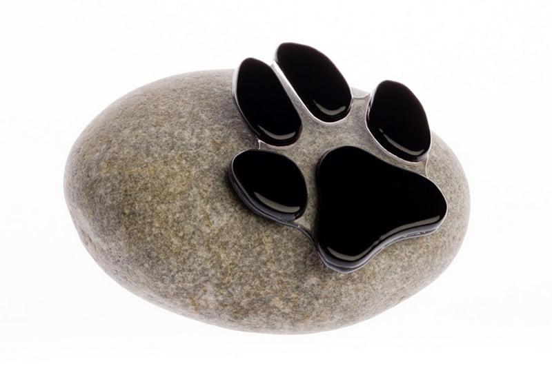 hondenpootje op kei mini urn glas