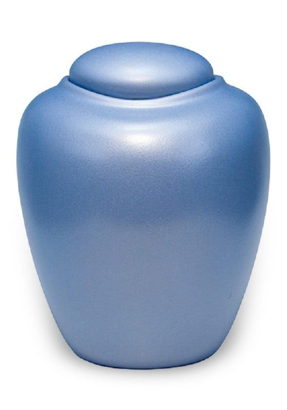 ecologische urn parelmoer ijsblauw