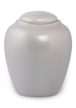 ecologische urn parelmoer wit