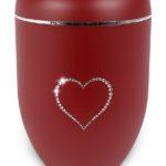 ecologische urn rood hart strass