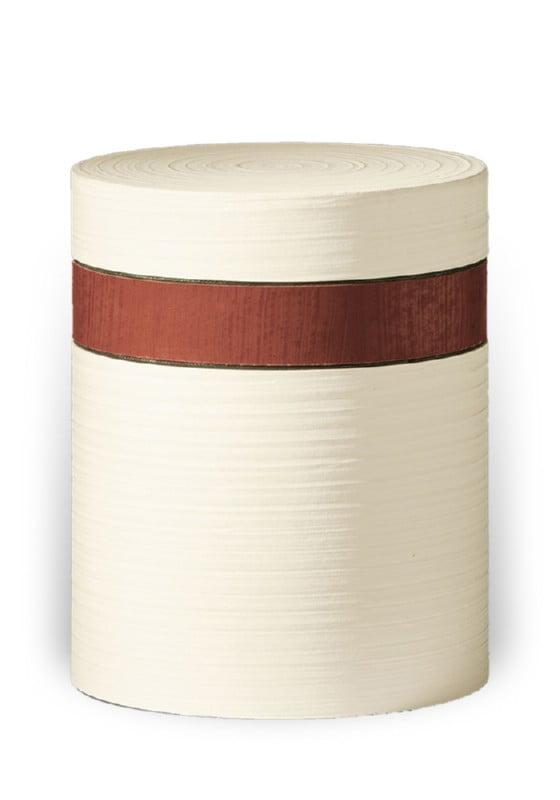 ecologische urn wit bruine band