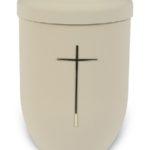 ecologische urn wit met kruis