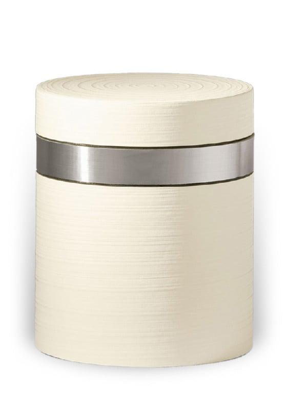 ecologische urn wit zilverband