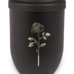 ecologische urn zwart met roos