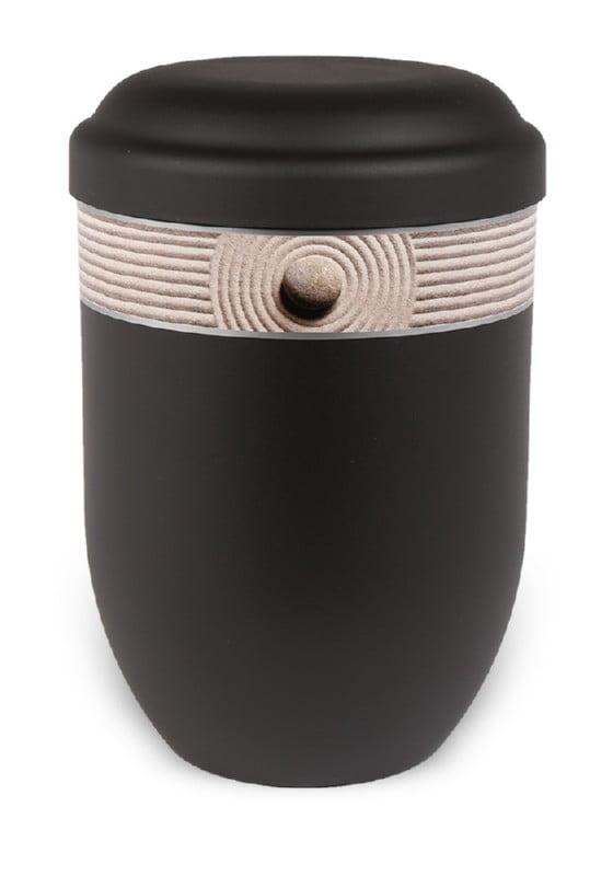 ecologische urn zwart met zand