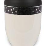ecologische urn zwart wit geblokt