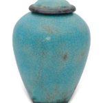 urn keramiek blauw craquele