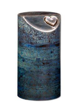 urn keramiek dark blue heart