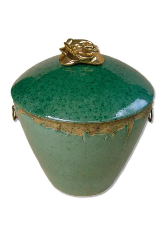 urn keramiek groen gouden roos
