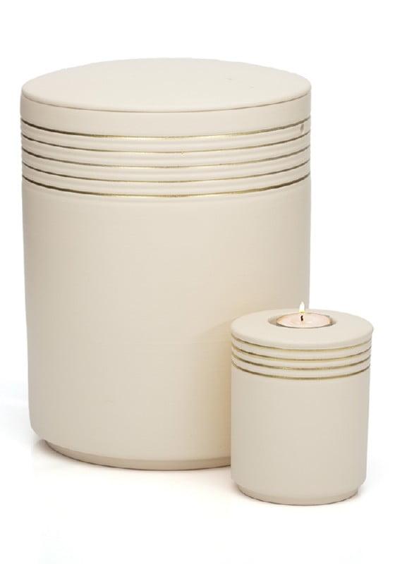 urn keramiek nova sandbeige gold met waxinelichthouder