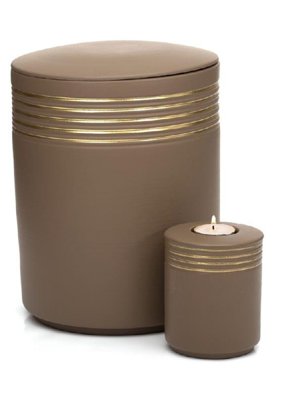 urn keramiek nova teak gold met waxinielichthouder