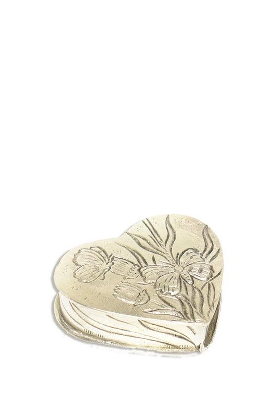mini urn groot hart met vlinders in bloemen
