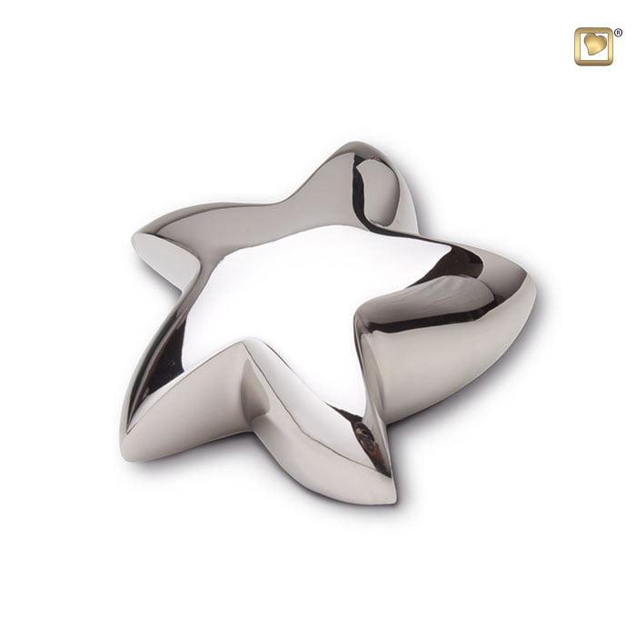mini urn zeester zilverkleurig gelanzend