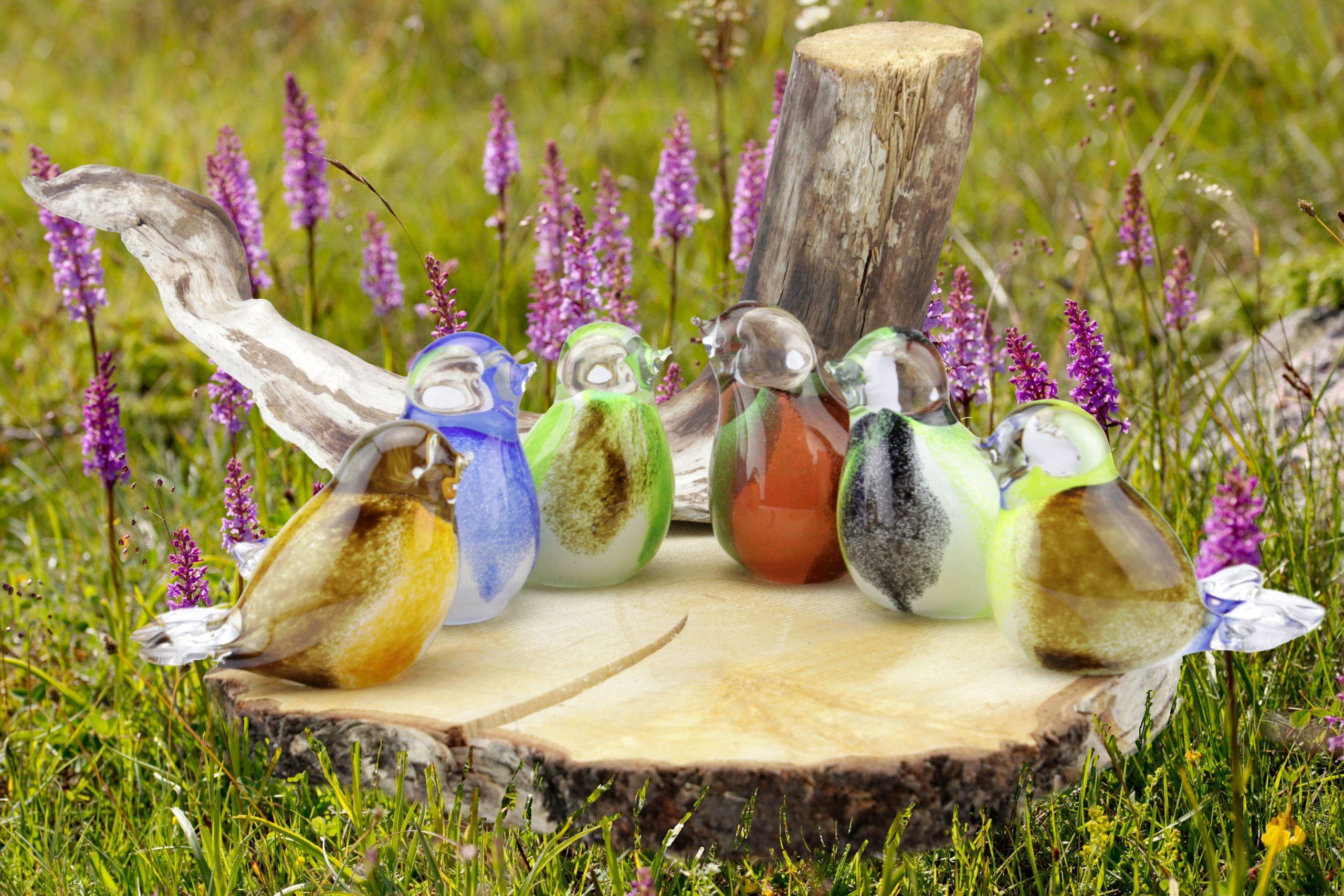 mini urn glazen vogel in diverse kleuren