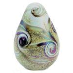 mini urn glas ovale druppel met zachte parelmoerglans
