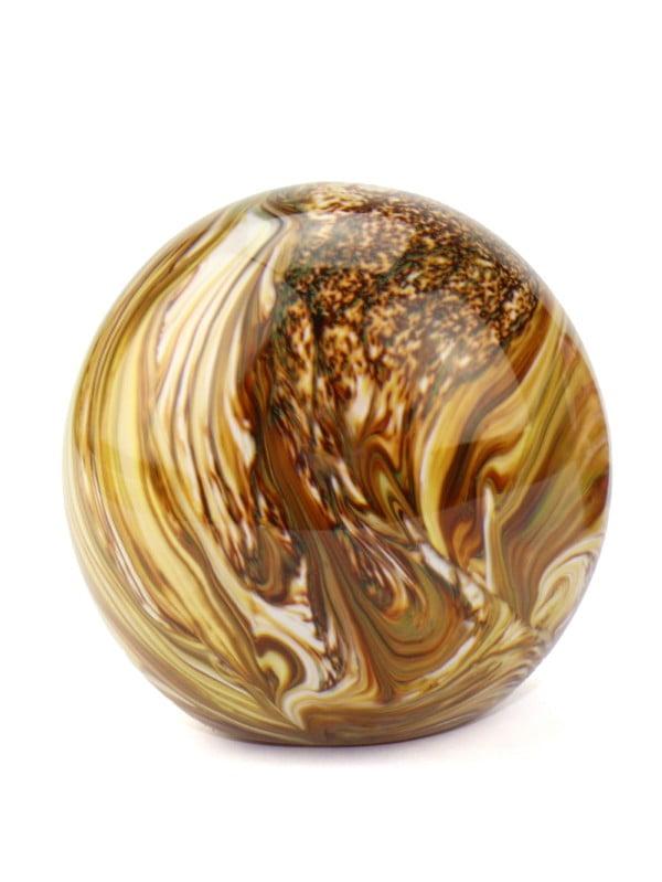 mini urn glas marmer effect bol met parelmoerglans