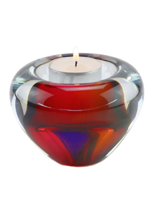 mini urn glas waxinelicht houder in diverse kleuren