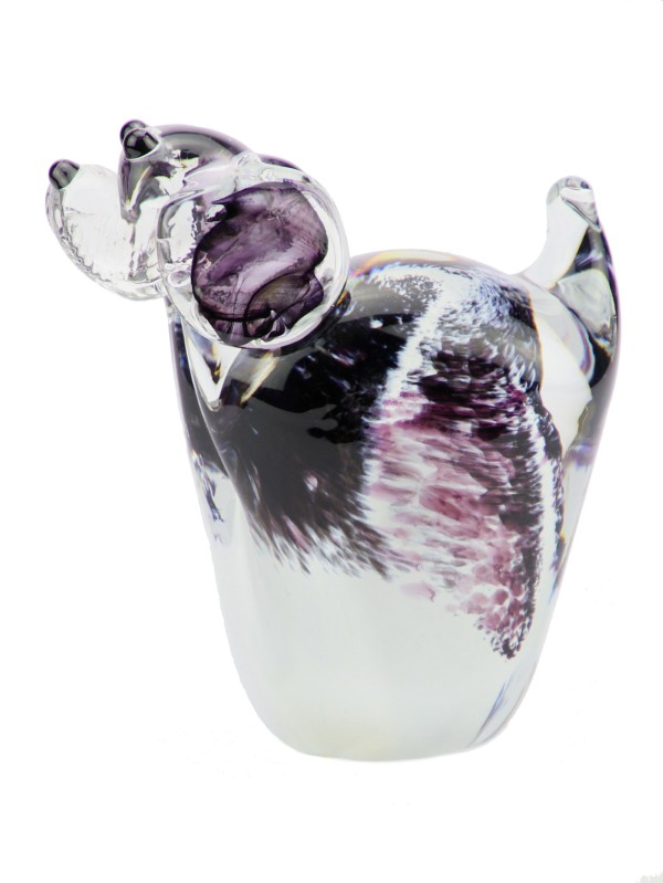 mini urn glazen hond in diverse kleuren