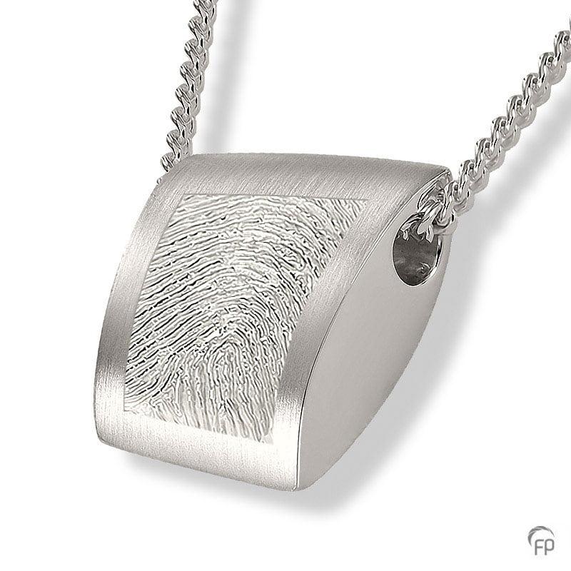 Fingerprint assieraad zilver ovaal met askamer