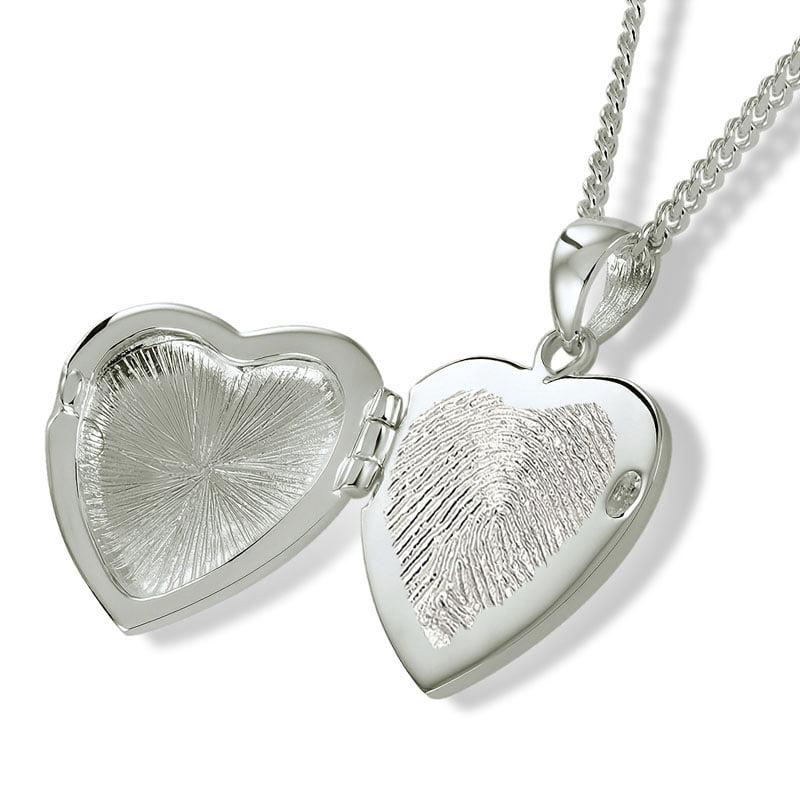 Fingerprint assieraad zilver hart medaillon met zirkonia