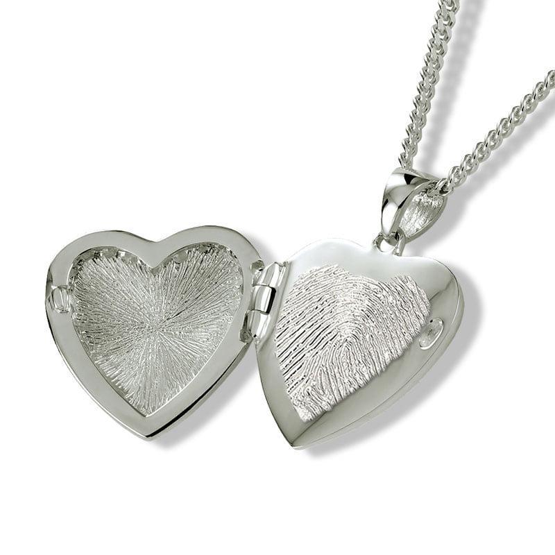 fingerprint assieraad zilver hart medaillon met askamer